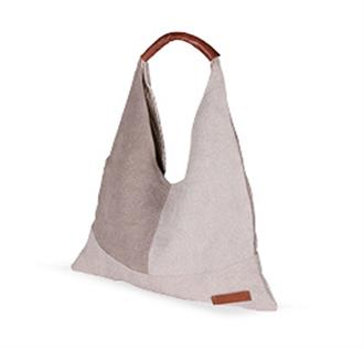 Bobag Handbag - Beige with Brown Leather Handle