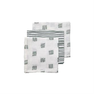 Meyco 3-pack Monddoekjes 'Block Stripe Forest Gre'
