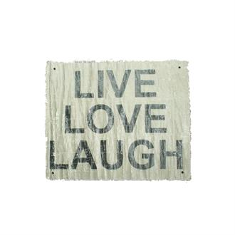 Stoffen Poster 'Live Love Laugh' antiek Look 45x55