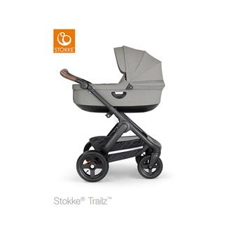 Stokke Trailz Black frame - Brown leatherette - Brushed grey - Terrain