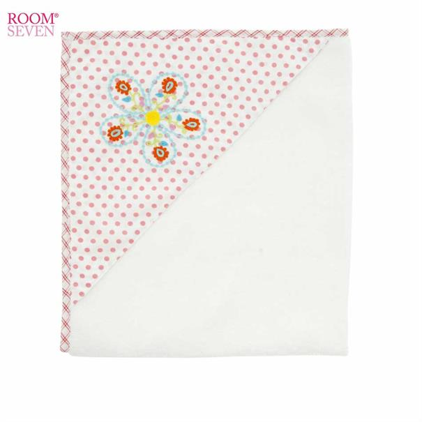 Terry Towel - Flower Embr. on Pink dot - Girls