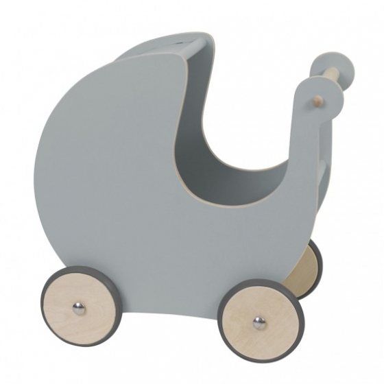 Wooden dolls pram, grey